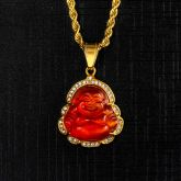 Iced Red Agate Buddha Pendant