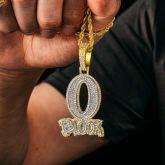 "Iced ""O Block"" Pendant in Gold"