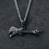 Rock Gestures Skeleton Guitar Pendant in Black Gold