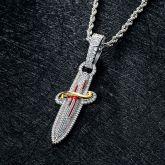 Iced Sword Pendant in White Gold