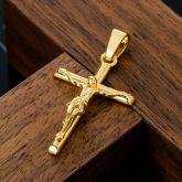 Crucifix Cross Pendant in Gold
