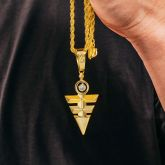 Eye of Horus Triangle Pendant in Gold