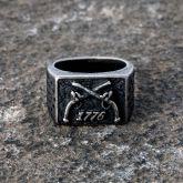 1776 Crossed Guns Stainless Steel Ring