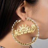 Personalized Iced Crown Name Hoop Earrings