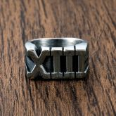 Roman Numberal 13 Stainless Steel Ring