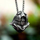 Odin Wolf Stainless Steel Viking Pendant