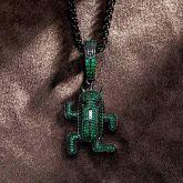 Green Stones Running Cactus Pendant in Black Gold