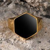 Hexagonal Golden Stainless Steel Ring