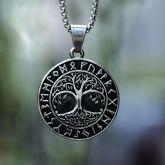 Tree of Life Runes  Stainless Steel Viking Pendant