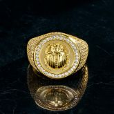 Iced Scarab Ring in Gold