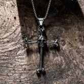 Bone Cross Stainless Steel Skull Pendant