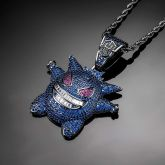 Iced Sapphire Gengar Pendant in Black Gold