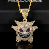 Iced Gengar Pendant in Gold