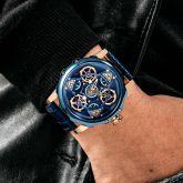 Men's Waterproof Mechanical 44mm Leather Strap Watch