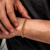5mm Cuban Link Solid 925 Sterling Silver Bracelet in Gold