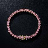 5mm Pink Stones Tennis 18K Gold Bracelet