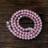 5mm Pink Stones Tennis 18K White Gold Chain