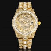 Iced Baguette Cut Roman Numerals Men's Watch in Gold