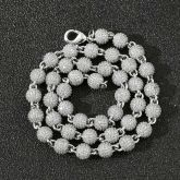 8mm Iced Beads Chain in White Gold