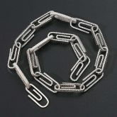 Iced Paper Clip Chain in White Gold
