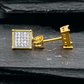 Square Diamonds Paved Stud Earrings-8*8mm