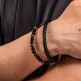 Men's Braid Leather Natural Stone Bead Bracelet
