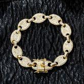 12mm Iced Coffee Bean Bracelet in Gold