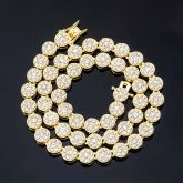 10mm Iced Round Flower Cluster Chain in Gold