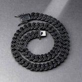 12mm Black Iced Miami Cuban Link Chain