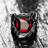 Iris Pattern Gem CZ  Stainless Steel Ring in Red