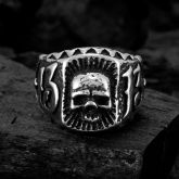 Gothic Skull 13 Inscribed Stainless Steel Ring