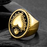 Vintage Heart Stainless Steel Ring in Gold
