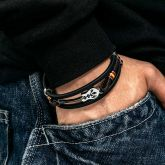 Men's Leather Braid Bracelet with Stainless Steel Guitar and Clasp