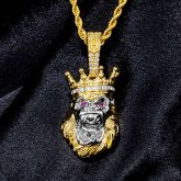Iced Roaring King Crown Gorilla Pendant