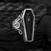 Egyptian Black Mummy Coffin Stainless Steel Ring