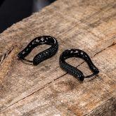 Iced Large Black U-shaped Hoop Earrings