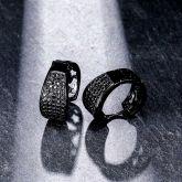 Large Black Stones Micropave Hoop Earrings
