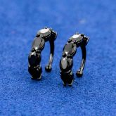 Small Oval Black Stones Ear Clip Without Ear Pierced