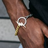 8mm Two Tone lightning Cuban Bracelet