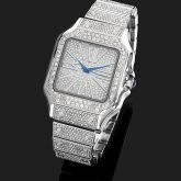 Iced Square Roman Numerals Men's Watch in White Gold