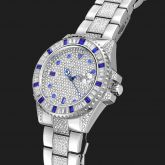 Iced Blue Stones Rotatable Bezel Watch in White Gold