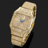 Iced Square Roman Numerals Men's Watch in Gold