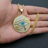 Iced Eye of Horus Round Pendant