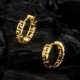 Greek Key Hoop Earrings in Gold