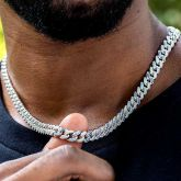 Iced 8mm  Gradient Blue Cuban Chain in White Gold