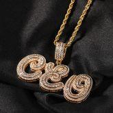 Custom Cursive Baguette Letter Pendant in Gold