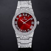 Iced Nugget Style Red Dial Roman Numerals Watch in White Gold