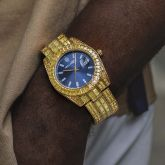 40mm Yellow Baguette Cut Blue Dial Watch in Gold