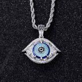 Iced Greek Evil Eye Talisman Pendant in White Gold
