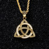 Iced Celtic Button Knot Pendant in Gold